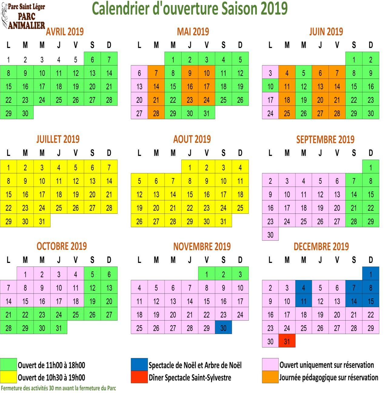 Calendrier Des Saints Et Des Prenoms.Calendrier D Ouverture Parc Saint Leger Parc Animalier